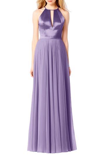After Six Satin & Chiffon Gown, Purple