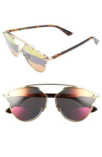 Women's Dior So Real 59Mm Brow Bar Sunglasses - Gold/ Pink