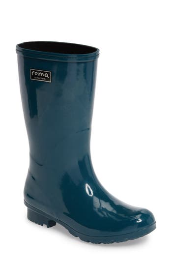 Roma Short Rain Boot, Blue/green