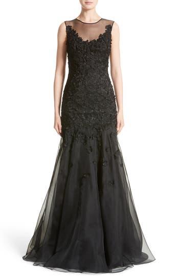 Carmen Marc Valvo Couture Floral Applique Trumpet Gown