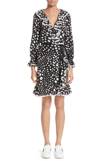 Women's Marc Jacobs Polka Dot Ruffle Silk Wrap Dress