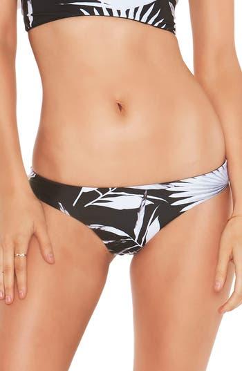 L Space Shadow Palm Reversible Bitsy Bikini Bottoms, Black