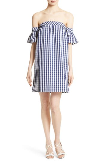 Milly Gingham Off The Shoulder Shift Dress, Blue