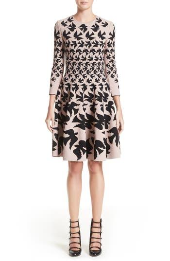Alexander Mcqueen Swallow Jacquard Dress, Pink
