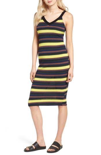Splendid Jungle Stripe Midi Tank Dress, Black
