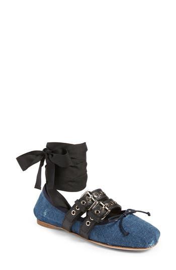 Miu Miu Lace-Up Ballerina Flat, Blue