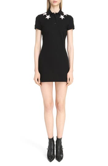 Givenchy Star Embellished Polo Dress, 6 FR - Black