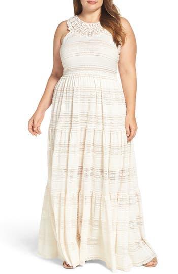 Plus Size Eliza J Tiered Lace Maxi Dress
