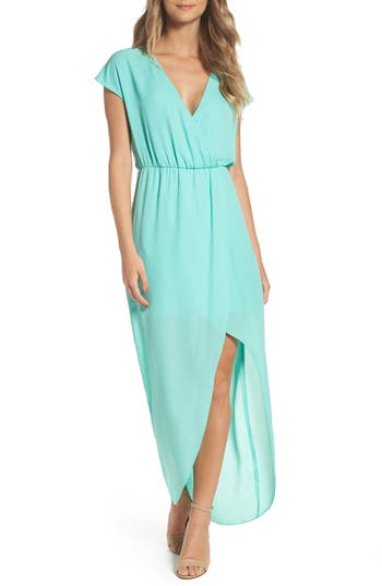 Women's Charles Henry Faux Wrap Woven Maxi Dress, Size X-Small - Blue