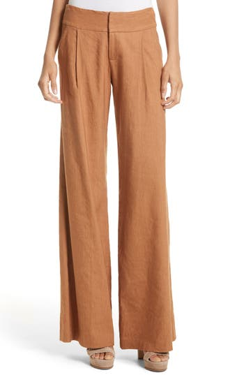 ALICE AND OLIVIA Eric Pleat Front Pants in Tan