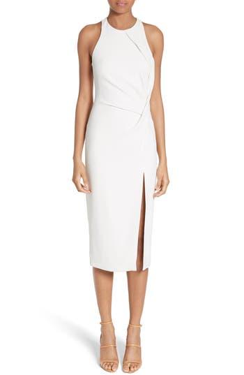 Cushnie Et Ochs Devon Crossover Detail Stretch Cady Dress, White