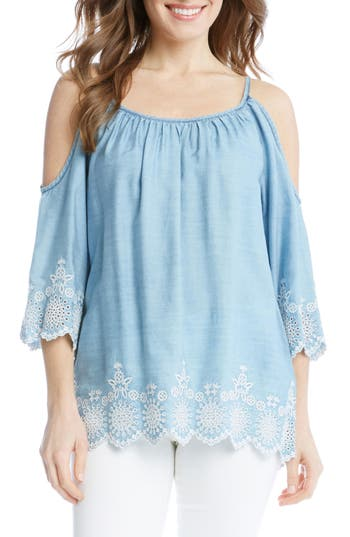 Women's Karen Kane Embroidered Chambray Cold Shoulder Top