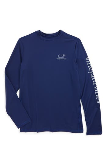 Boys Vineyard Vines Long Sleeve Rashguard Top Size 6  Blue