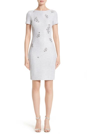 St. John Collection Embellished Shimmer Knit Dress, Purple