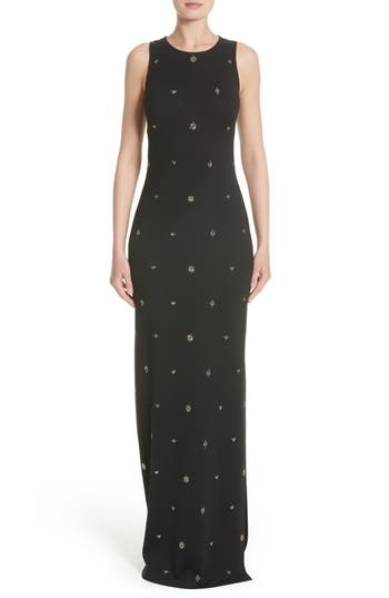St. John Evening Back Keyhole Shimmer Milano Knit Gown, Black