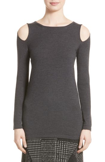 Fuzzi Cutout Merino Wool Sweater, Black