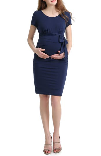 Kimi And Kai Lana Ruched Maternity Dress, Blue