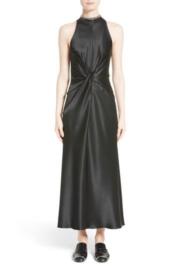 Alexander Wang Fishbone Necklace Silk Satin Dress, Black