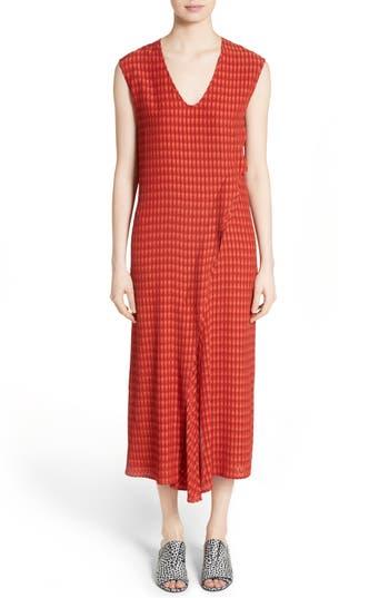 Zero + Maria Cornejo Twisted Tank Batik Plaid Dress, Red