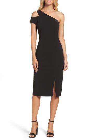 Maggy London One-Shoulder Sheath Dress, Black