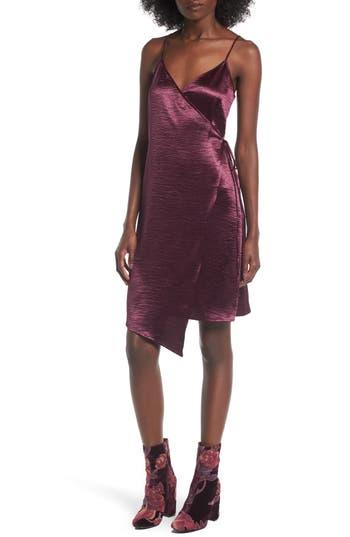 Leith Textured Satin Wrap Dress, Purple