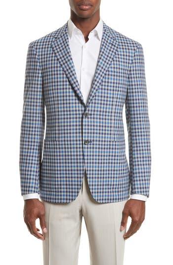 Canali Kei Classic Fit Plaid Wool Sport Coat, 6 L EU - Grey