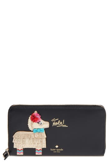 Kate Spade New York Pinata Applique Lacey Leather Clutch - Black