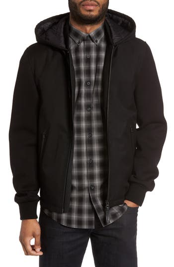 Men's Mackage Mixed Media Hooded Jacket