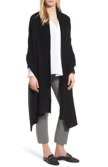 Women's Halogen Cardigan Stitch Cashmere Wrap, Size One Size - Black