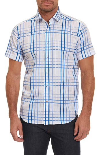 Men's Robert Graham Dax Tailored Fit Check Short Sleeve Linen Sport Shirt