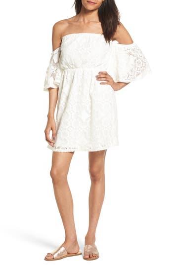 Soprano Blouson Lace Minidress, Ivory