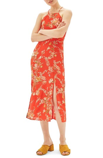 Topshop Eastern Floral Midi Dress, US (fits like 2-4) - Red