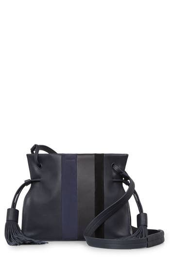 Allsaints Casey Calfskin Leather & Suede Tassel Crossbody Bag - Blue