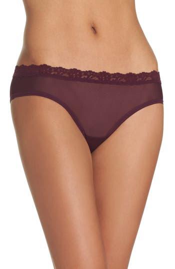 Women's Hanky Panky Mesh Bikini, Size Large - Burgundy