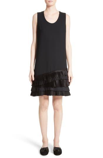 Victoria, Victoria Beckham Pleated Hem Shift Dress, Black