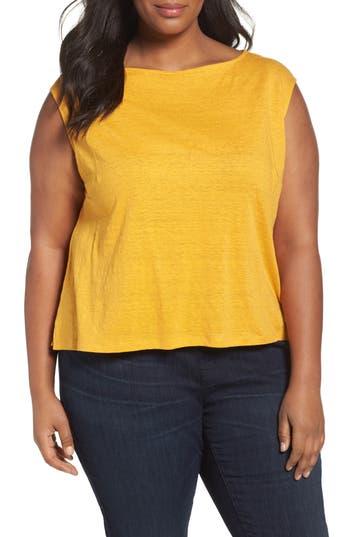 Plus Size Women's Eileen Fisher Organic Linen Jersey Shell, Size 1X - Orange