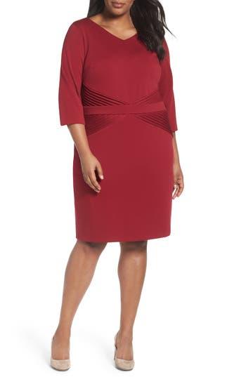 Plus Size Ellen Tracy Pintuck Ponte Sheath Dress, Red