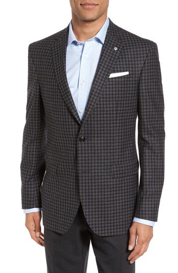Ted Baker London Jay Trim Fit Check Wool Sport Coat, S - Grey