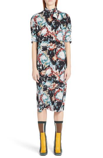 Marni Magma Print Silk Crepe Dress, US / 42 IT - Blue