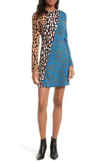 Diane Von Furstenberg Bias Fitted Print Dress, Blue