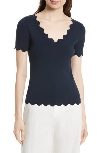 Women's Milly Scallop Top, Size Petite - Blue