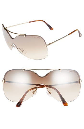 Tom Ford Ondria Gradient Lens Shield Sunglasses - Shiny Rose Gold/ Brown