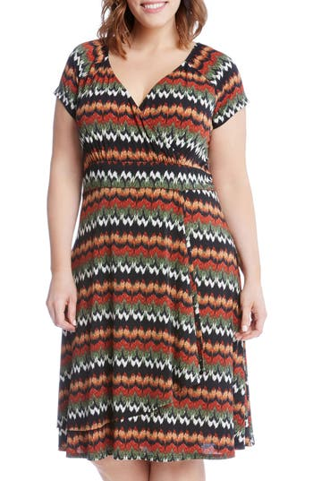 Plus Size Karen Kane Print Cascade Drape Dress, Orange