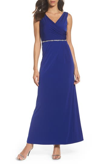 Ellen Tracy Embellished Drape Back Gown, Blue