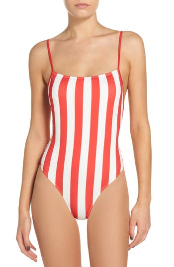 Striped & Solid Chelsea One-Piece Swimsuit, Red