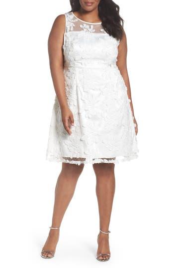 Plus Size Adrianna Papell Zelda Fringe Lace Fit & Flare Dress, White