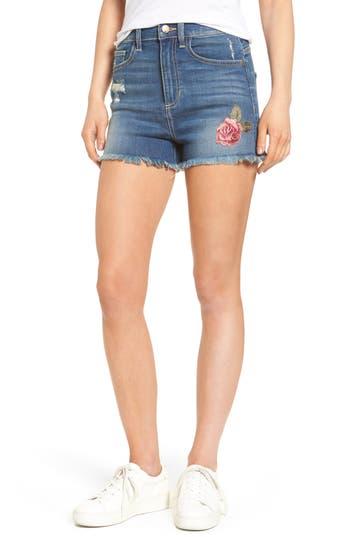 Women's Sp Black Floral Embroidered Denim Shorts