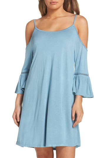 Women's Leith Cold Shoulder Cover-Up Dress, Size Small - Blue