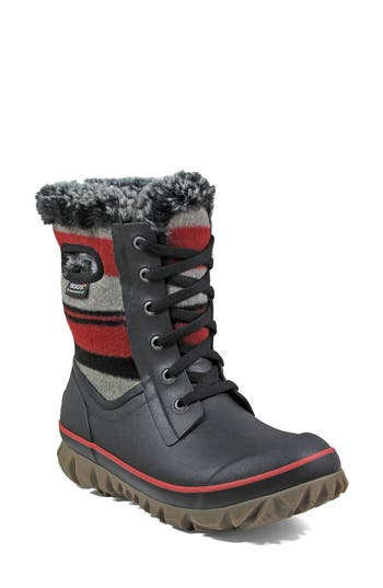 Bogs Arcata Stripe Waterproof Snow Boot, Red