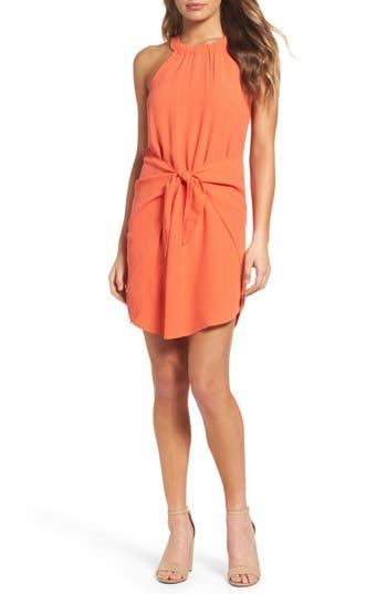 Greylin Elyse Tie Front Sheath Dress, Coral